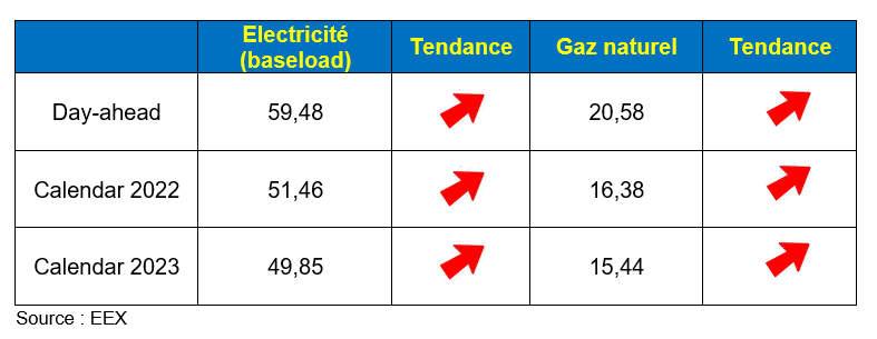 Moyenne mensuelle des prix en janvier 2021 en France